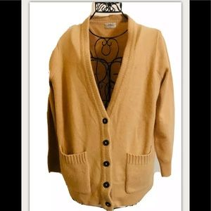 WALLACE brown gold knit cardigan pockets sweater